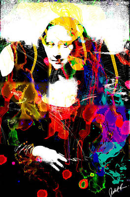 31x48 Mona Lisa Screwed - Huge Signed Art Abstract Paintings Modern Www.splashyartist.com Poster by Robert R Splashy Art Abstract Paintings