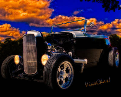 32 Ford Roadster In Silver An Black Poster