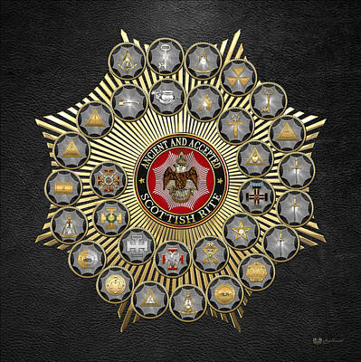 33 Scottish Rite Degrees On Black Leather Poster by Serge Averbukh