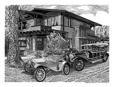 1913 Metz Runabout In Front Of 355 Junipero Long Beach C A Poster by Jack Pumphrey