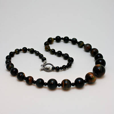 3608 Blue Tiger Eye Graduated Necklace Poster by Teresa Mucha