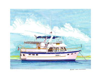 37 Foot Marine Trader 37 Trawler Yacht At Anchor Poster by Jack Pumphrey