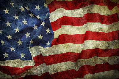 American Flag Poster by Les Cunliffe