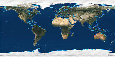 3d Earth At A Glance - Satellite Image Of The World Poster by Serge Averbukh