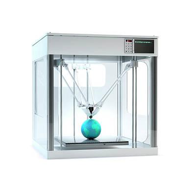 3d Printer Printing Globe Poster