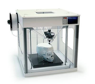 3d Printer Printing Skull Poster by Andrzej Wojcicki