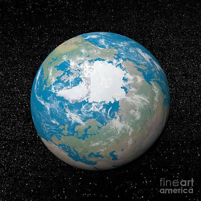 3d Rendering Of Planet Earth Centered Poster by Elena Duvernay