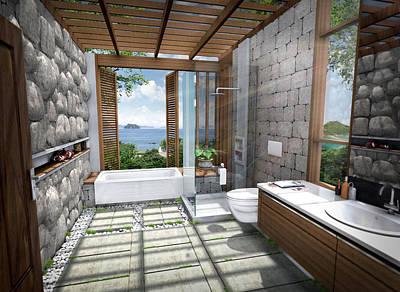 3d Tropical Bathroom Poster