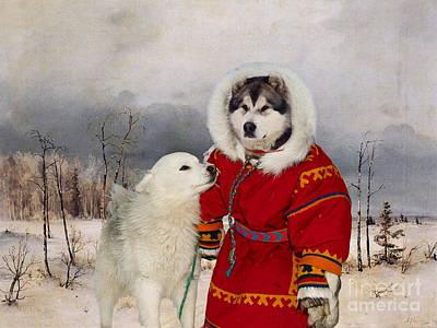 Alaskan Malamute Art Canvas Print Poster by Sandra Sij