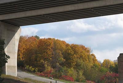 Bridge Wild Fall Colors Trees Skyview Sky Bluesky  Decorations Deco Artistic By Navinjoshi          Poster