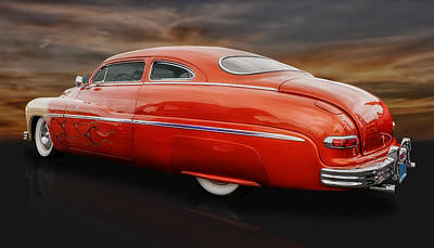 1950 Mercury Sedan With Flames Poster by Frank J Benz