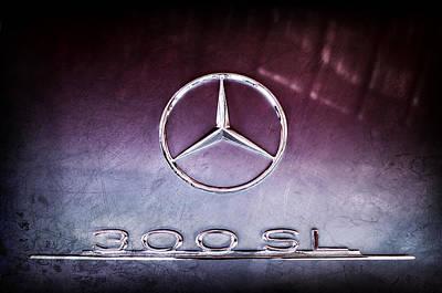 1955 Mercedes-benz Gullwing 300 Sl Emblem Poster by Jill Reger