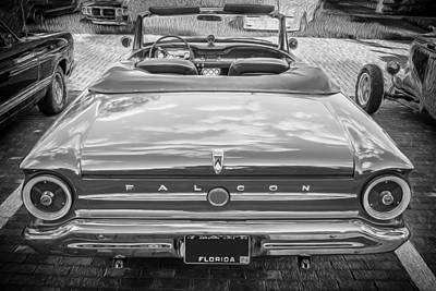1963 Ford Falcon Sprint Convertible Bw  Poster by Rich Franco
