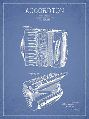 Accordion Patent Drawing From 1938 Poster by Aged Pixel