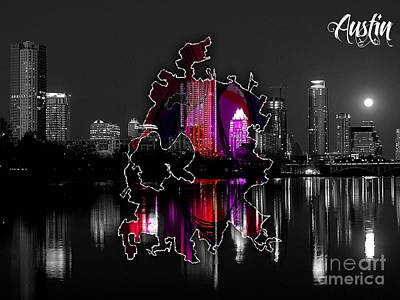 Austin Map And Skyline Watercolor Poster