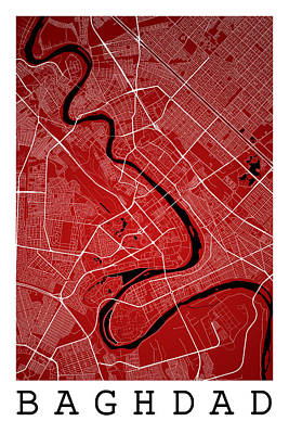 Baghdad Street Map - Baghdad Iraq Road Map Art On Color Poster