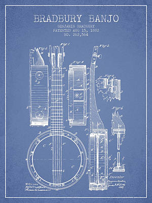 Banjo Patent Drawing From 1882 - Light Blue Poster
