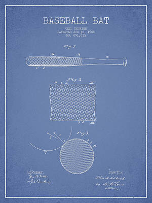 Baseball Bat Patent Drawing From 1904 Poster by Aged Pixel