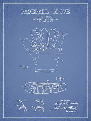 Baseball Glove Patent Drawing From 1922 Poster