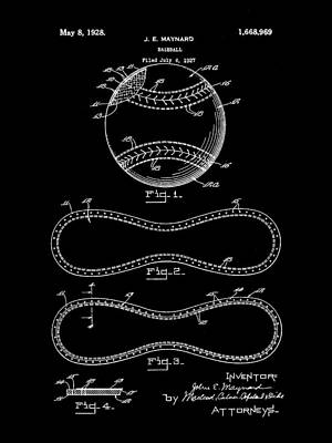 Baseball Patent 1927 - Black Poster by Stephen Younts