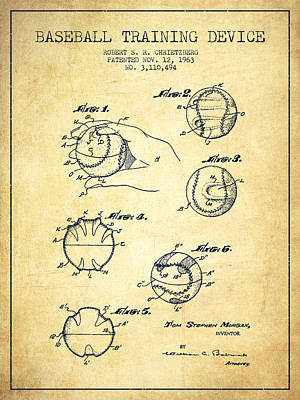 Baseball Training Device Patent Drawing From 1963 Poster