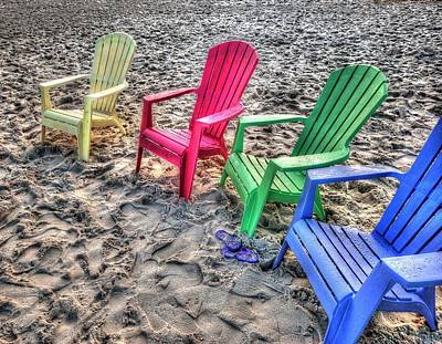 Poster featuring the digital art 4 Beach Chairs by Michael Thomas
