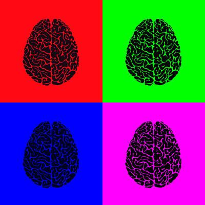 4 Brain Pop Art Panel Poster by Daniel Hagerman
