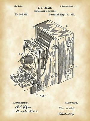 Camera Patent 1887 - Vintage Poster