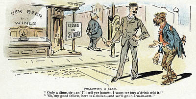 Cartoon Blue Laws, 1895 Poster by Granger