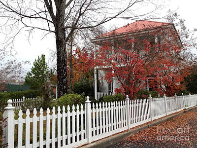 Charleston Historical Victorian Mansion - Charleston Autumn Fall Trees And White Picket Fence Poster by Kathy Fornal