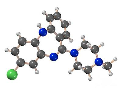 Clozapine Antipsychotic Drug Molecule Poster by Dr. Mark J. Winter