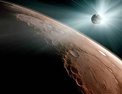 Comet Heading For Mars Poster by Detlev Van Ravenswaay
