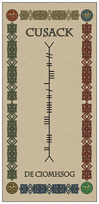 Cusack Written In Ogham Poster