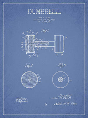 Dumbbell Patent Drawing From 1935 Poster by Aged Pixel