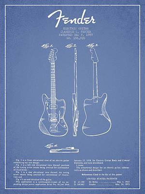 Electric Guitar Patent Drawing From 1959 Poster