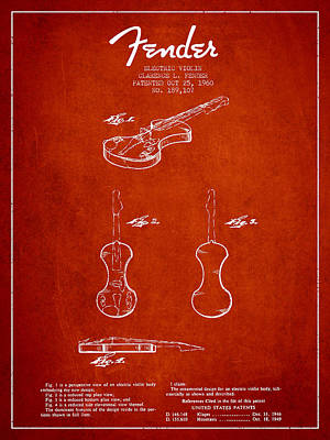 Electric Violin Patent Drawing From 1960 Poster by Aged Pixel