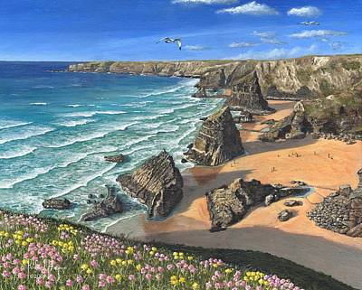 Evening Light Bedruthan Steps Cornwall Poster by Richard Harpum