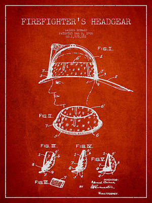 Firefighter Headgear Patent Drawing From 1926 Poster by Aged Pixel