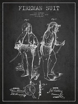 Fireman Suit Patent Drawing From 1826 Poster