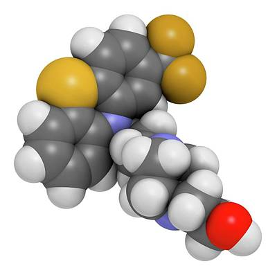 Fluphenazine Antipsychotic Drug Molecule Poster