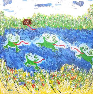 4 Frogs And A Bear Poster