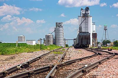 Grain Elevators And Railway Poster