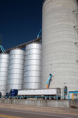 Grain Truck Being Filled At A Silo Poster by Jim West