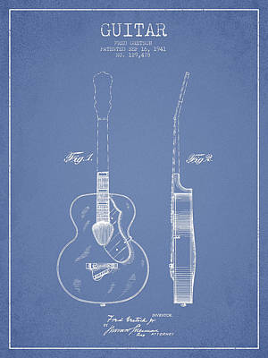 Gretsch Guitar Patent Drawing From 1941 - Light Blue Poster