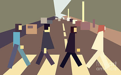 4 Guys Crossing Abbey Road Poster by Igor Kislev