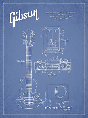 Hart Gibson Electrical Musical Instrument Patent Drawing From 19 Poster by Aged Pixel