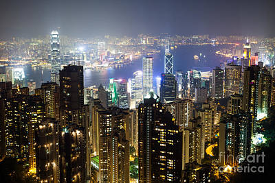 Hong Kong Harbor From Victoria Peak At Night Poster by Matteo Colombo