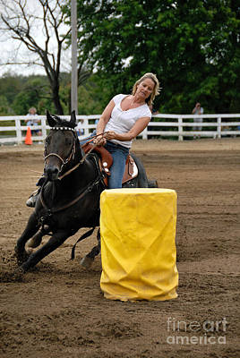 Horse And Rider In Barrel Race Poster