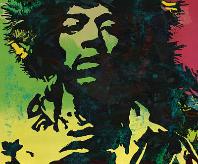Jimi Hendrix Stylised Pop Art Drawing Potrait Poster Poster