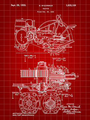 John Deere Tractor Patent 1932 - Red Poster by Stephen Younts